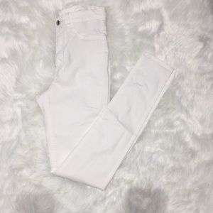 High waist white pants
